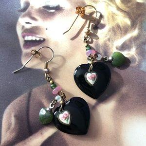 Vintage Onyx Heart Earrings